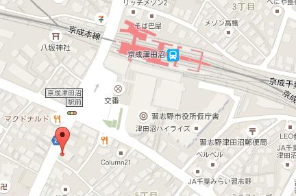 京成津田沼バニラ歯科 地図